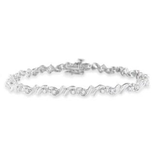 Sterling Silver 0.5ct TDW Diamond Swirl Accent Tennis Bracelet (H-I,I3) - White