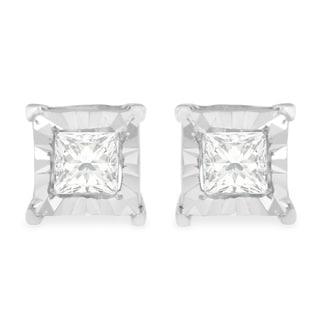 Sterling Silver 0.6ct TDW Princess Cut Diamond Stud Earrings (H-I,I1-I2) - White