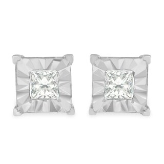Sterling Silver 0.5ct TDW Princess Cut Diamond Stud Earrings (H-I, I2-I3) - White