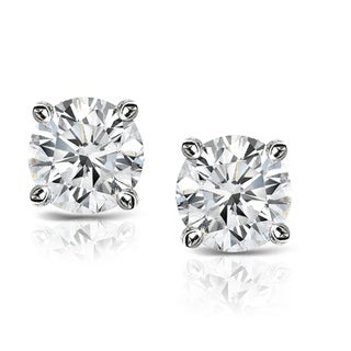 14k White Gold 0.5ct. TDW Solitaire Diamond Stud Earrings (G-H,I1-I2)