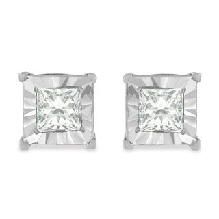 Sterling Silver 1ct TDW Princess Diamond Square Frame Stud Earrings (H-I,I1-I2) - White