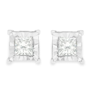 Sterling Silver .6ct TDW Princess Cut Diamond Stud Earrings (H-I,I2-I3) - White