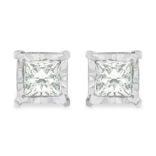 Sterling Silver 0.25ct TDW Princess Cut Diamond Stud Earrings (H-I,I2-I3) - White