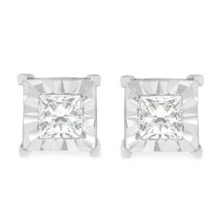 Sterling Silver 0.5ct TDW Princess Cut Diamond Sqaure Frame Stud Earrings (H-I, I2-I3) - White