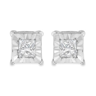 Sterling Silver .25ct TDW Princess Diamond Solitaire Stud Earrings (I-J,I2-I3) - White