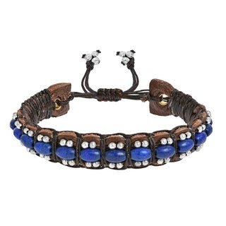Charming Blue Howlite Turquoise Rolls Leather Bracelet (Thailand) (Option: White)
