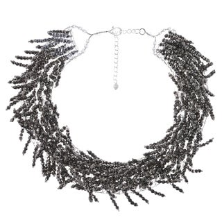 Sparkling Silver Crystal Beaded Fringe Statement Collar Necklace