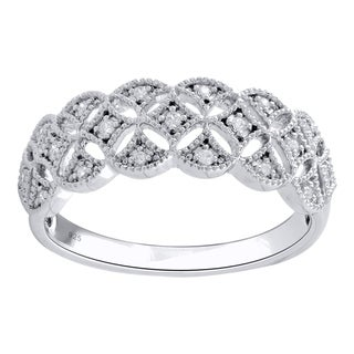 Sterling Silver 1/10cttw Diamond Anniversary Band - White