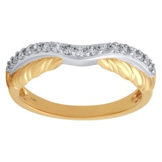14K Yellow Gold 1/4cttw Diamond Contour Ring - White