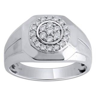 Sterling Silver 1/2cttw Men's Diamond Ring - White