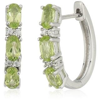 Sterling Silver Peridot Small Hoop Earrings - Green