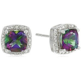 Sterling Silver Cushion Mystic Topaz and Diamond Accented Halo Stud Earrings - Green