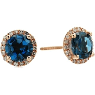 10k Rose Gold London Blue Topaz, Diamond Classic Halo Stud Earrings
