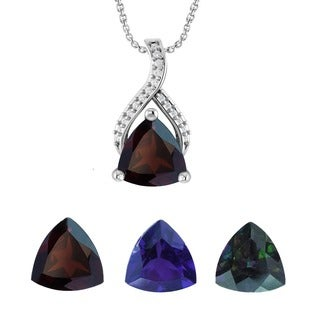 Sterling Silver Trillion-cut Gemstone Necklace Set Between Two Contours