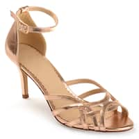 Journee Collection Women's 'Moyra' Metallic Ankle Strap Heels