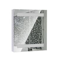 HomCom Vertical 32 LED Illuminated Bathroom Wall Mirror Medicine Cabinet - Dual Strip LEDs - Silver