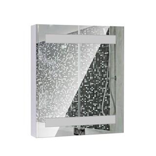HomCom 32 in. LED Single Door Bathroom Mirror Medicine Cabinet - Silver