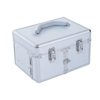 Soozier 3 Tier Lockable Cosmetic Makeup Case with Extendable Trays - Silver