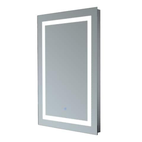 HomCom Vertical 32 in LED Illuminated Bathroom Wall Mirror - Silver