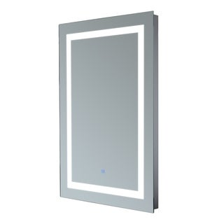 HomCom 28 inch Border Illuminated LED Wall Mirror - Silver