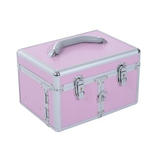 Soozier 3 Tier Lockable Cosmetic Makeup Case with Extendable Trays - PInk