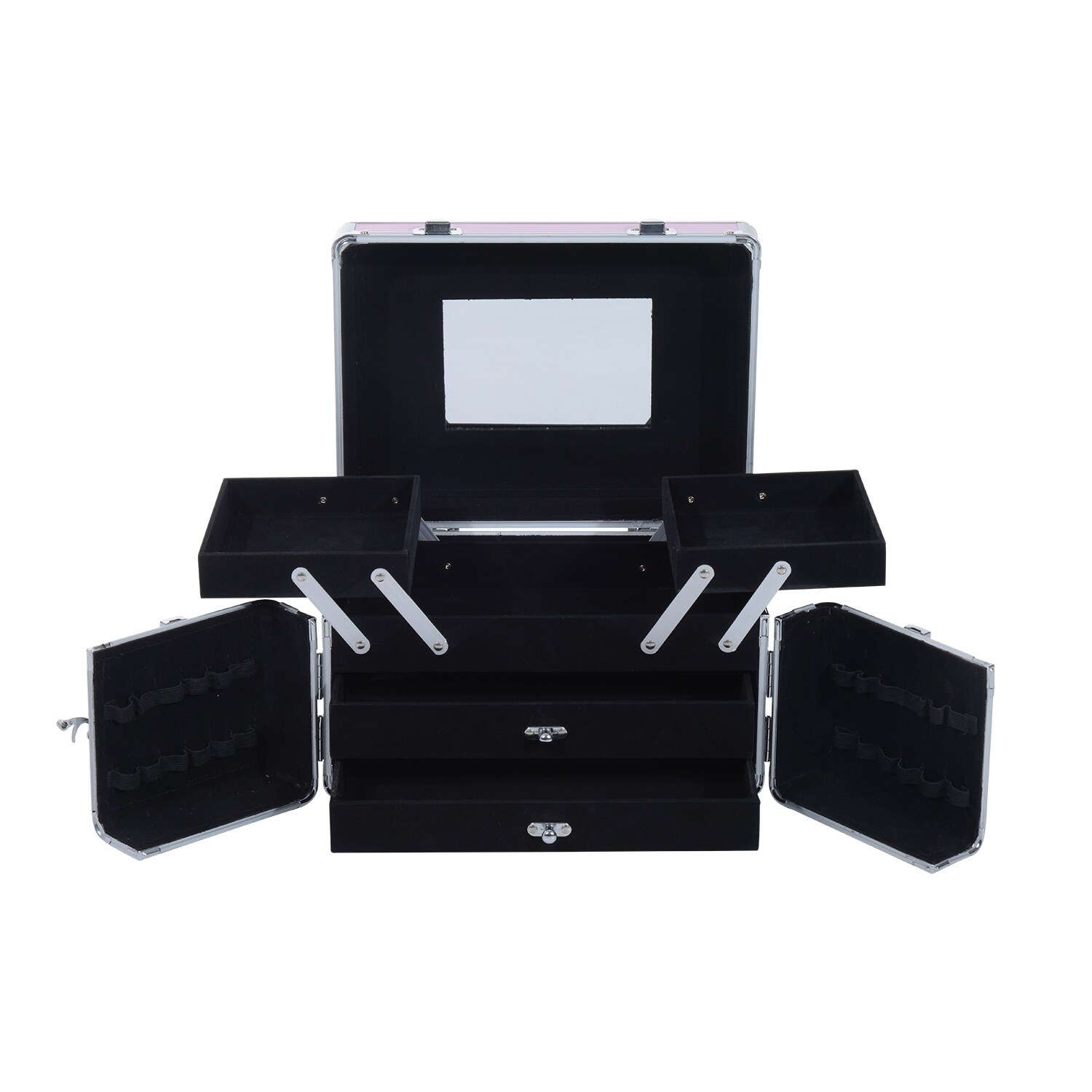 0215610712ad Soozier 3 Tier Lockable Cosmetic Makeup Case with Extendable Trays