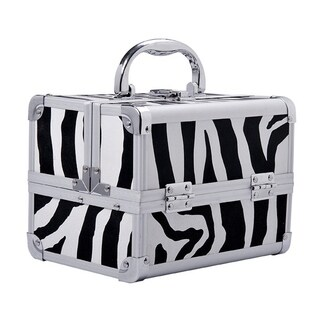 Soozier Mirrored Mini Professional Makeup Case with Pull Out Tray - Zebra Print