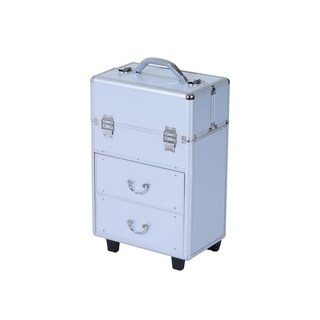 Link to Soozier Rolling Cosmetic Makeup Train Case - Silver Similar Items in Makeup Brushes & Cases