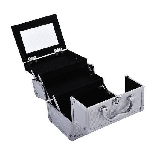 Soozier Mirrored Mini Professional Makeup Case with Pull ...