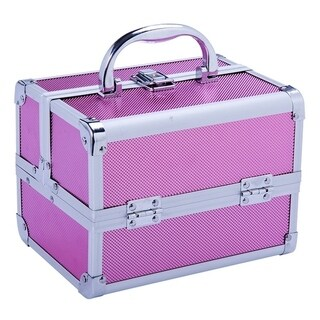 Soozier Mirrored Mini Professional Makeup Case with Pull Out Trays - PInk
