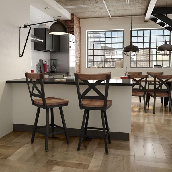 Carbon Loft Prescoft Swivel Metal Stool With Wood Seat