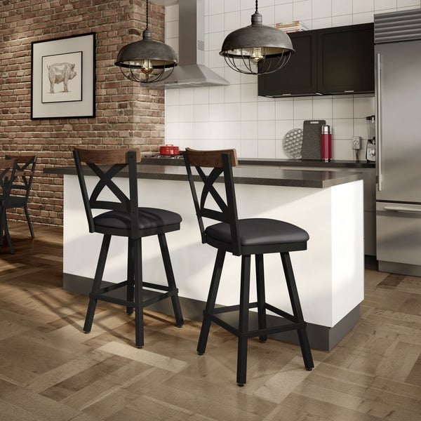 Shop Carbon Loft Prescoft Swivel Metal Stool With Wooden