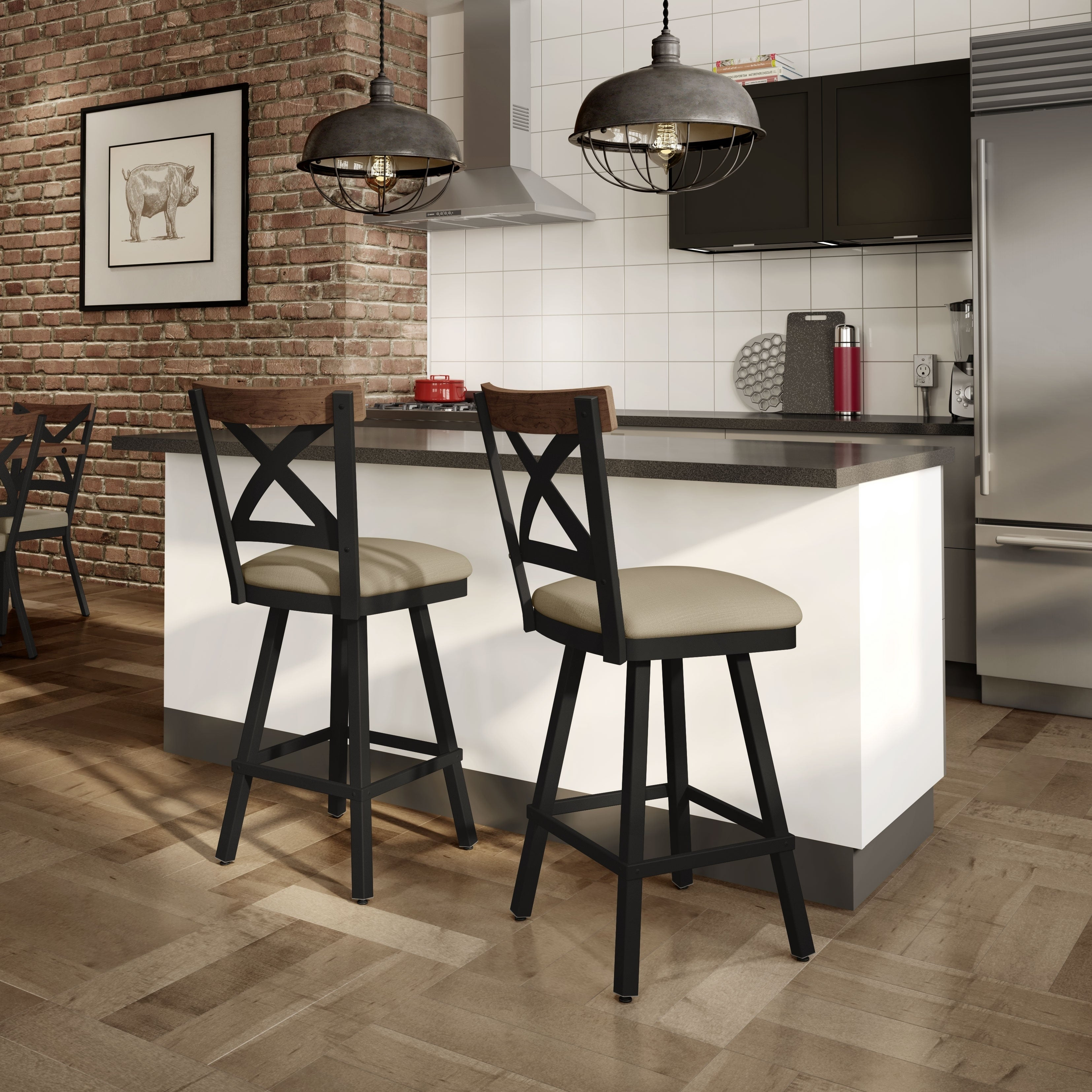 Fine Carbon Loft Prescoft Swivel Metal Stool With Wooden Accent Caraccident5 Cool Chair Designs And Ideas Caraccident5Info