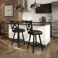 Carbon Loft Prescoft Swivel Metal Stool with Wooden Accent