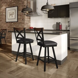 Amisco Snyder Swivel Metal Stool with Wooden Accent
