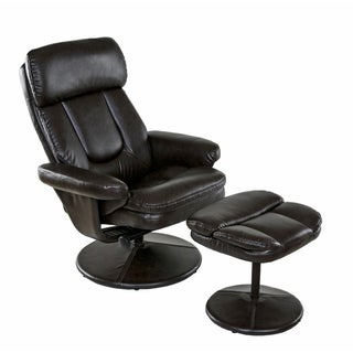 Relaxzen 60-050111 Basic Bonded Leather Recliner with Ottoman, Brown