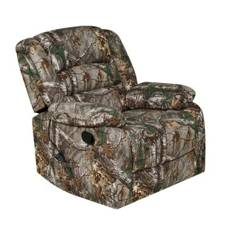 Relaxzen Rocker Recliner with Heat, Massage, USB, Realtree Xtra Camo