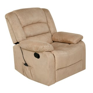 Relaxzen Rocker Recliner with Heat, Massage, USB, Beige