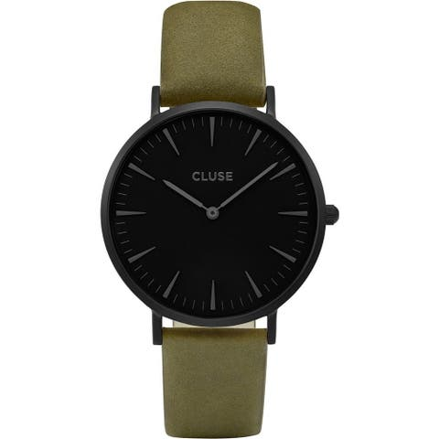 Cluse LA BOHÈME Women's CL18502 Olive Green Leather Black Dial Watch