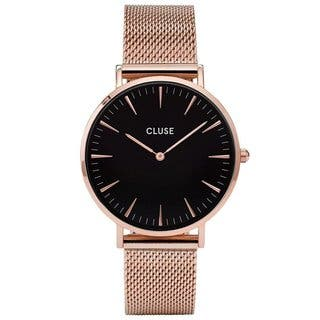 Cluse LA BOHÈME Women's CL18113 Rose Gold with Black Dial Mesh Dress Watch|https://ak1.ostkcdn.com/images/products/17993650/P24166408.jpg?impolicy=medium