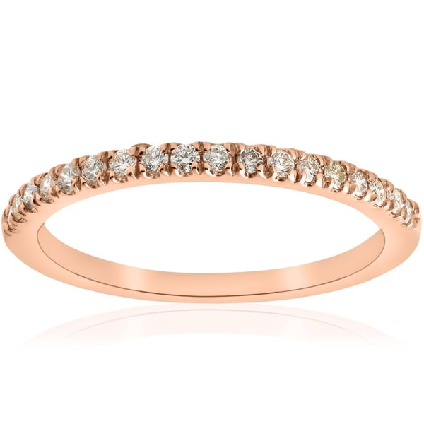 Diamond Wedding Band in 10K Pink Gold 1//5 cttw, G-H,I2-I3 Size-7.75