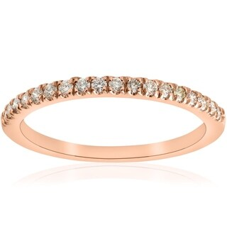 Bliss 10k Rose Gold 1/4 ct TDW Diamond Stackable Wedding Anniversary Ring (I-J,I2-I3) - White I-J