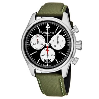 Alpina Men's AL-372BS4S6 'Startimer Pilot' Black Dial Green Leather Strap Big Date Swiss Quartz Watch