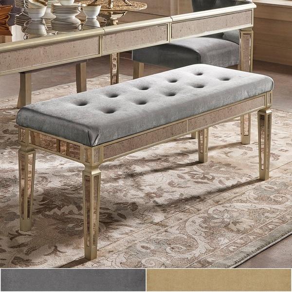 Clara Velvet Upholstered Antique Gold Mirrored Bench by iNSPIRE Q Bold