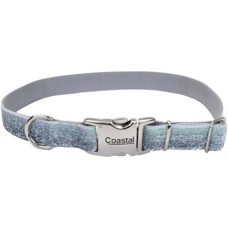 "Pet Attire Sparkles Adjustable Dog Collar W/Metal Buckle-1"" Silver, Neck Size 18""-26"""