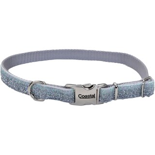 "Pet Attire Sparkles Adjustable Dog Collar W/Metal Buckle-5/8"" Silver, Neck Size 12""-18"""