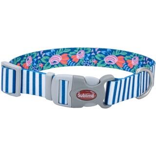 "Sublime 1"" Adjustable Dog Collar-Teal Stripes W/Flowers, Neck Size 12-18"""
