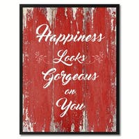 Happiness Looks Gorgeous On You Motivation Saying Canvas Print Picture Frame Home Decor Wall Art Gift Ideas