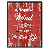 A Negative Mind Will Never Give You A Positive Life Inspirational Saying Canvas Print Picture Frame Home Decor Wall Art