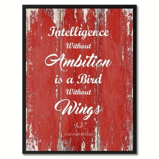 Intelligence Without Ambition Is A Bird Without Wings Inspirational Saying Canvas Print Picture Frame Home Decor Wall Art